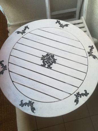 Drewniany biały stoliczek   decoupage + 2 krzesła - komplet, PILNE!