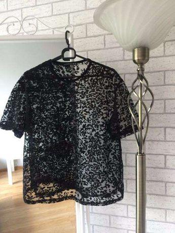 Koszulka tshirt top crop prześwitująca siatka siateczka czarna róże S