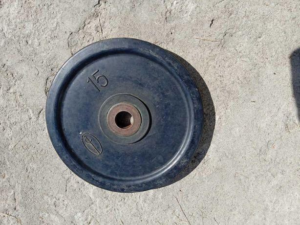 Блин для штанги обрезиненный - 15 кг ( 50 мм)