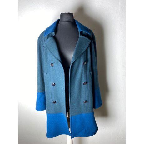 Пальто Chanel  синее двубортное шерсть