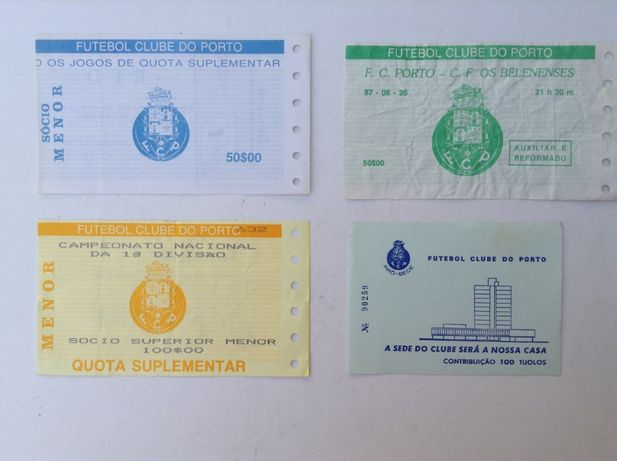 BILHETES de Futebol do FC PORTO anos 80 - Usados - Tijolos
