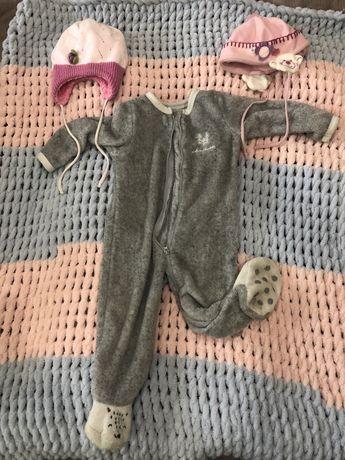 дитячий одяг на дівчинку 1-1,5 років  шапка комбінезон піжама
