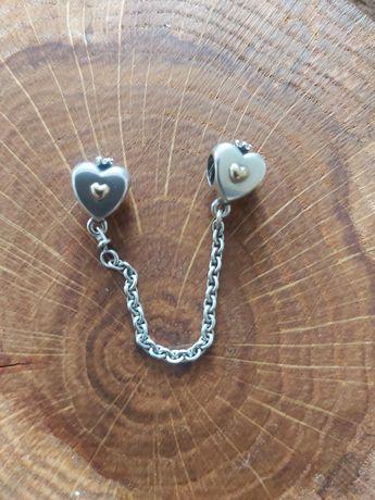 Łańcuszek zabezpieczający do bransoletki Pandora TT srebro + złoto 6cm