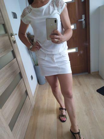 Biała mini spódniczka jeansowa Bershka 38