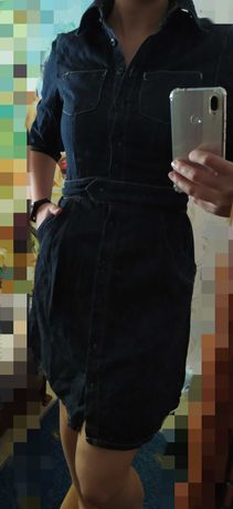 Джинсовое платье сарафан 42размер