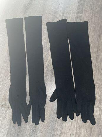 Перчатки черные высокие женские