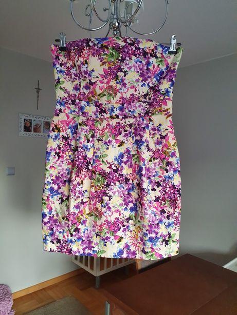 Gorsetowa sukienka w kwiaty firmy Oasis rozm. 38
