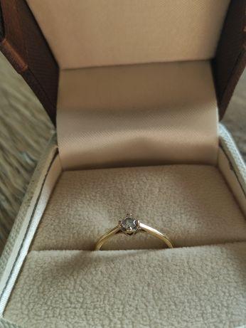 Śliczny pierścionek zaręczynowy APART Brylant Żółte złoto
