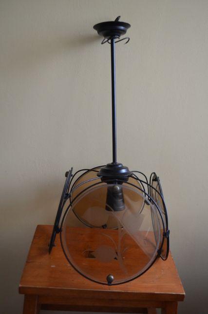 Lampa wisząca, szkło + metaloplastyka, E27, PRL