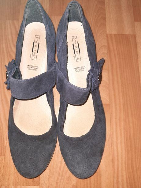Комфортные туфли 5-th avenue р-р 40-41 кожа-замша т.синие