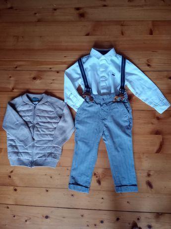 Komplet dla chłopca 86-92, koszula spodnie, sweterek dla szczupłego