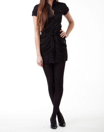 Nowa szmizjerka czarna sukienka z paskiem kieszenie S 36 sexi