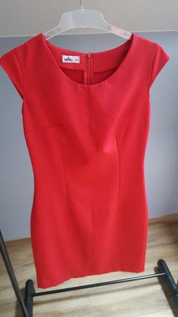Czerwona sukienka elegancka na wesele 36 S