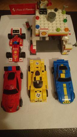 lego auta wyścigowe i stacja paliw shell