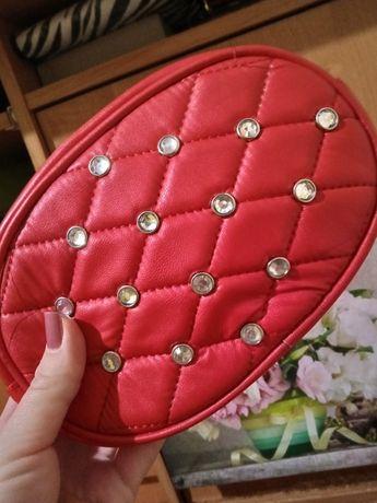 Сумка сумочка клатч бананка поясная красная камни стразы блестящие