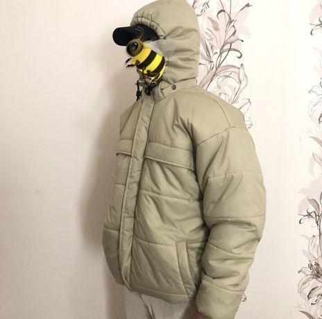 Бежевый пуховик с капюшоном H&M Sport x куртка зимняя Zara