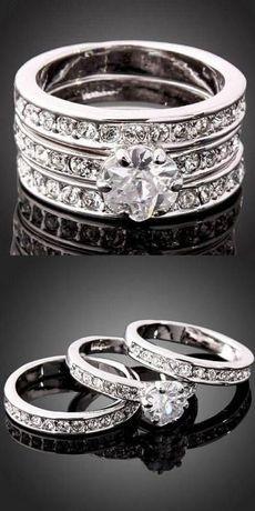 Trzy pierścionki w jednym :) Cyrkonie :)