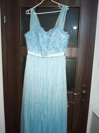 Sukienka błękitna balowa cekiny koronka 38 M