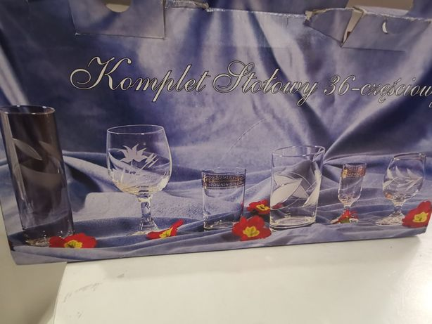 Art Glass Krosno 36 sztuk zestaw platyna gałązka II komplety stołowy