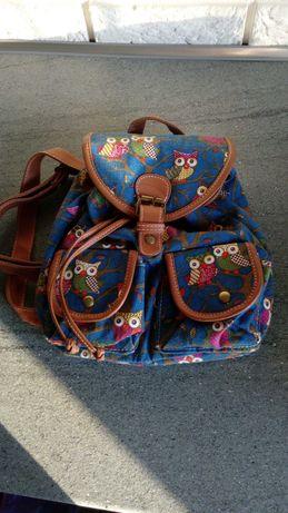 Plecak, torebka 2 w 1, sówki