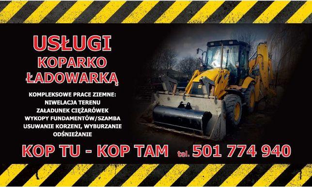 Usługi Koparko-Ładowarką, wykopy, prace ziemne, usuwanie korzeni,