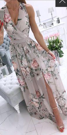 Długa suknia, maxi z rozcięciem