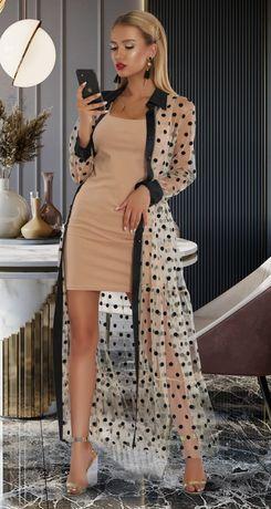 Двойное бежевое платье. Нарядное платье футляр + накидка в горошек