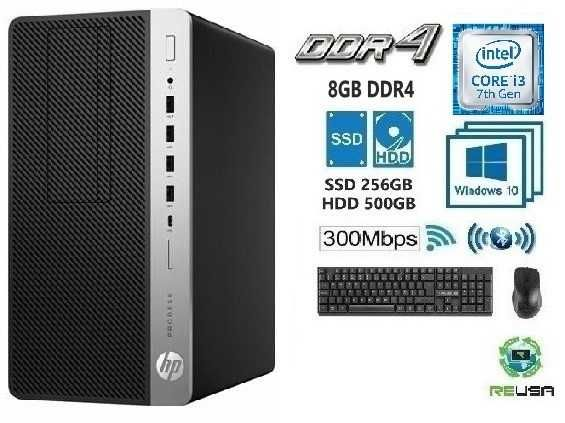 Pc-P/OFFICE-7ªG-i3 7100 3.9Ghz,8G Ddr4, SSD256G+HD500G,KIT,BT,WIFI,W10