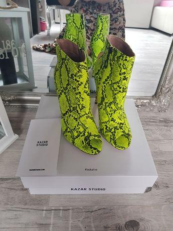 KAZAR Studio botki peep toe snake żółto-czarneNOWE