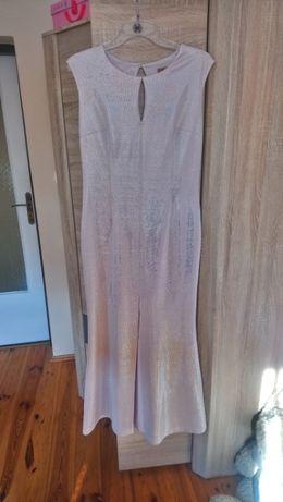 Długa sukienka na wesele jasny róż/ jasny fiolet z narzutką rozmiar 40