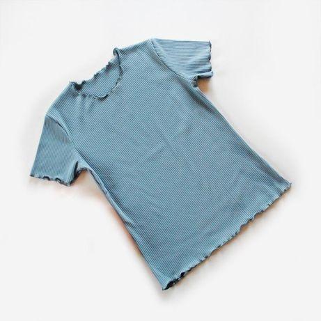 Трикотажная футболка в рубчик серо-голубого цвета