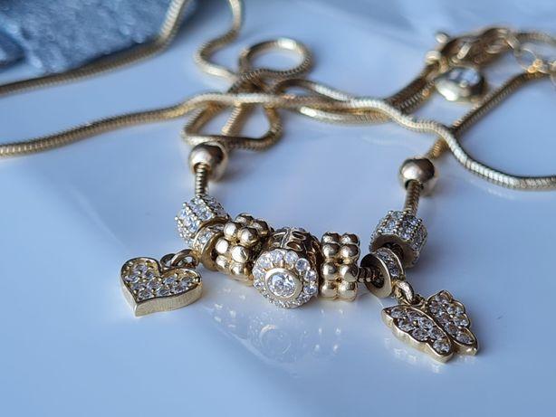 Złoty łańcuszek+charmsy PETARDA! pr.585 14k