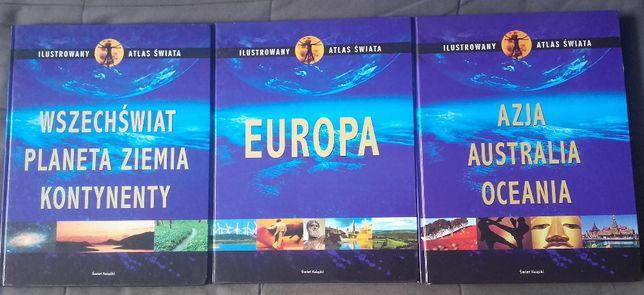 """,,Ilustrowany atlas świata"""" (3 części), stan idealny"""