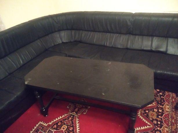 Meble ława i narożnik skórzany oraz 2 fotele