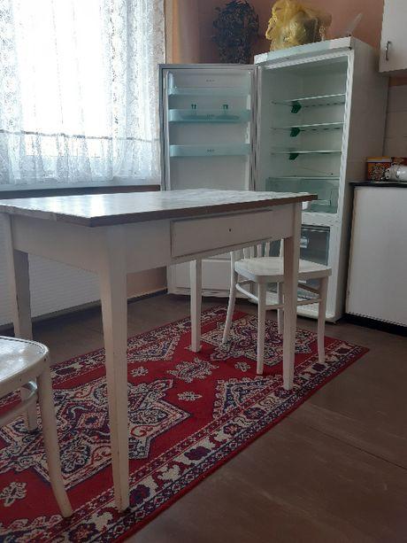 stół kuchenny z szyfladą PRL + krzesła