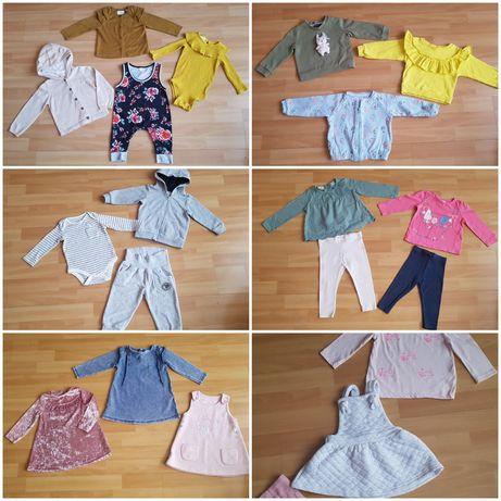 Ubranka 74 dla dziewczynki sukienki leginsy body bluzy