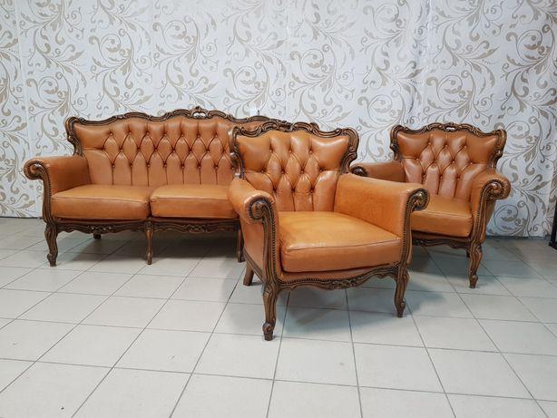 Комплект мебели Барокко кожаный диван два кресла