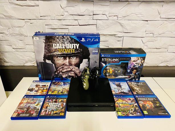Konsola PlayStation 4 1000GB 2 pady zestaw gier ładowarka