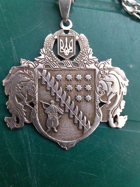 Кулон в виде герба Днепр а цепочкой