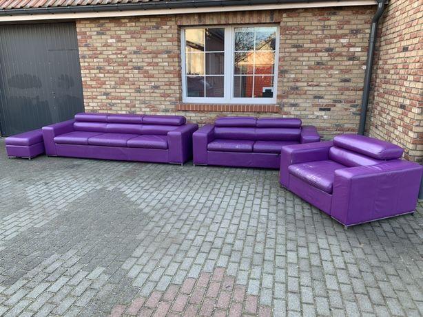Kanapa skórzana sofa wypoczynek 3+2+1+pufa