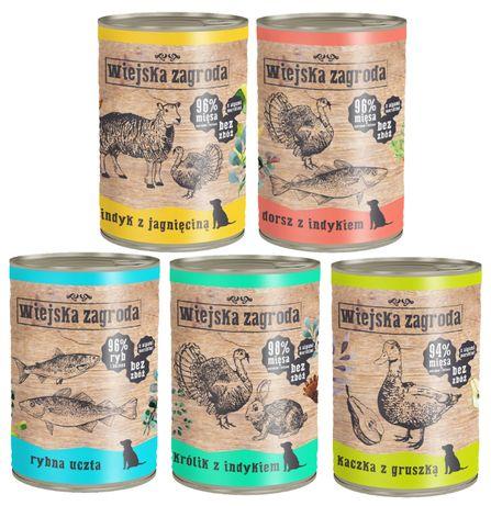 Wiejska Zagroda 800g mokra karma dla psa różne smaki
