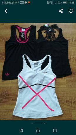Bluzka bokserska Adidas Nike i czarna z cyrkoniami rozm S NOWE