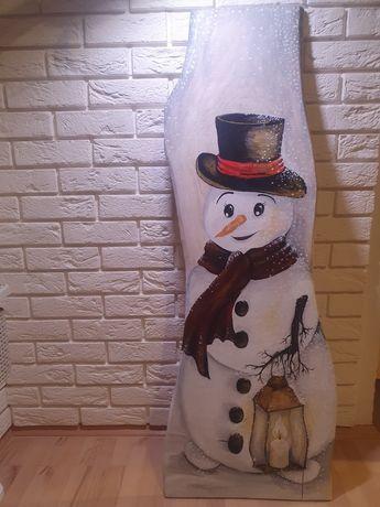 Bałwan na desce dębowej, dekoracja świąteczna