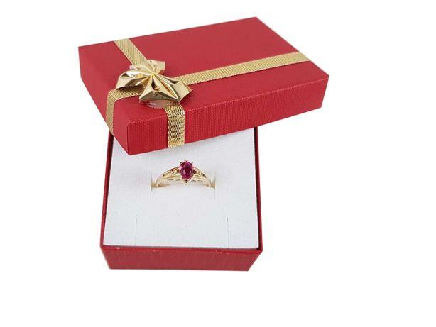 Złoty pierścionek z czerwonym oczkiem P585 2,53G R14