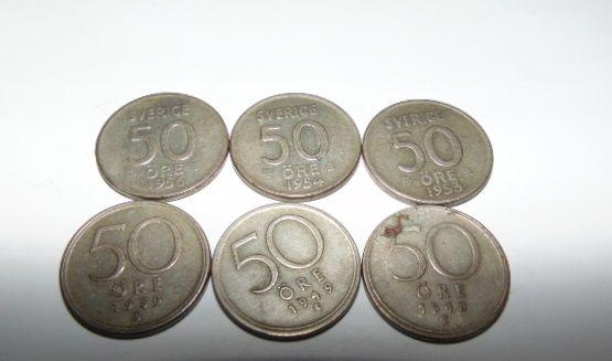 Monety szwedzkie 50 ore,srebrne