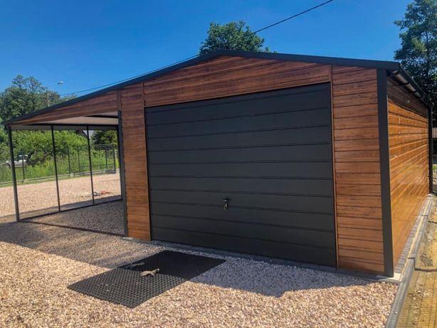 Garaż blaszany piękna imitacja drewna z wiatą
