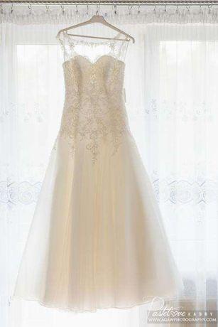 Piękna sukienka ślubna z podpinanym trenem 36 z salonu SABE