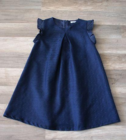 Sukienka granatowo-złota r.128