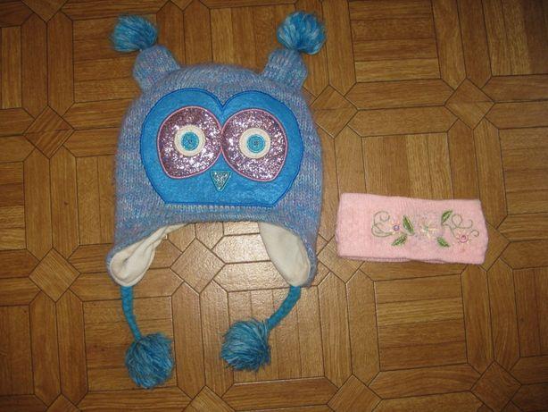 Шапка флис совушка, сова Childrens Place 4-7 лет и повязка в подарок