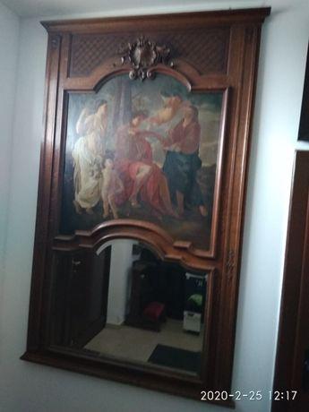 Pałacowe lustro z obrazem 200 ×120 antyk